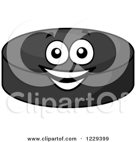 Clipart of a Happy Hockey Puck Character - Royalty Free Vector Illustration by Vector Tradition SM