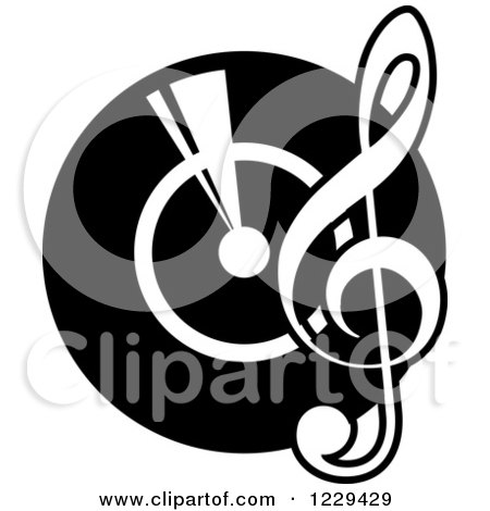 Clipart of a Vinyl Record and Notes with Music Text - Royalty Free ...