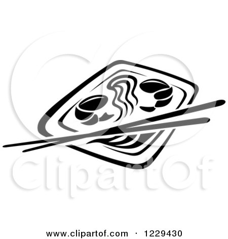 Clipart of a Black and White Chinese Noodle and Prawn Meal - Royalty Free Vector Illustration by Vector Tradition SM