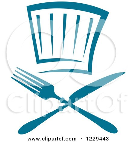 Clipart of a Blue Chef Hat and Silverware - Royalty Free Vector Illustration by Vector Tradition SM