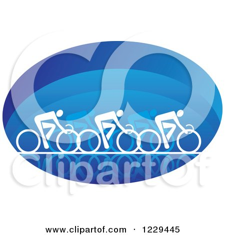 White Cyclists in a Blue Oval Posters, Art Prints