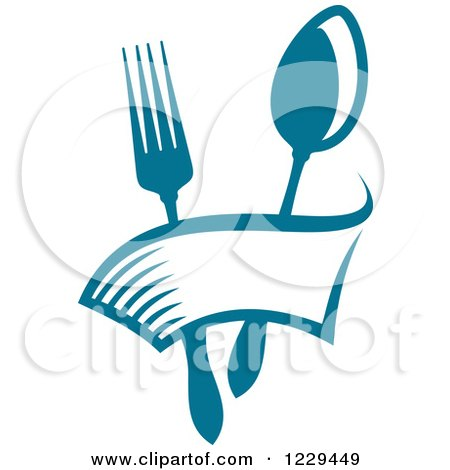 Clipart of a Blue Fork and Spoon with a Banner - Royalty Free Vector Illustration by Vector Tradition SM