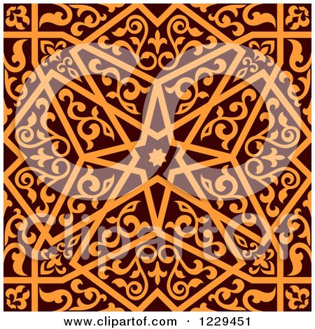 Clipart of a Seamless Brown and Orange Arabic or Islamic Design 5 - Royalty Free Vector Illustration by Vector Tradition SM