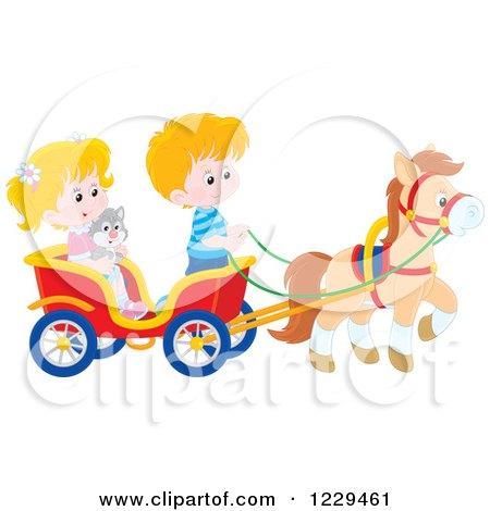 Clipart of Blond Caucasian Children and a Cat Riding in a Horse Cart - Royalty Free Vector Illustration by Alex Bannykh