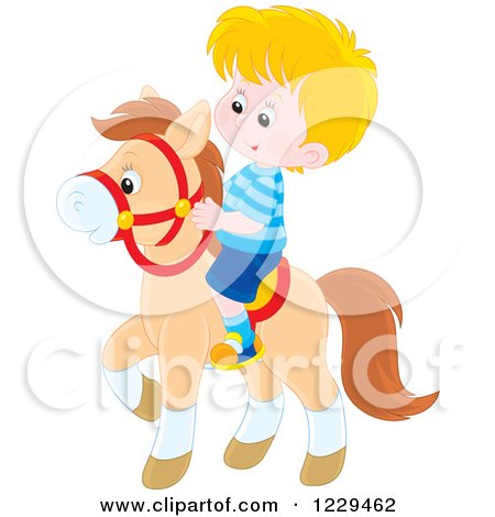 Clipart of a Blond Boy Riding a Pony - Royalty Free Vector Illustration by Alex Bannykh