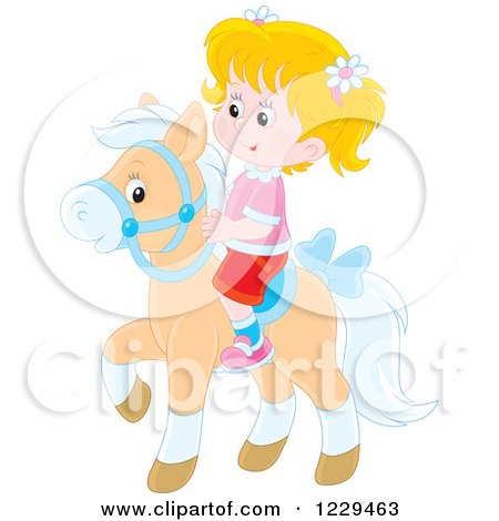 Clipart of a Blond Girl Riding a Pony - Royalty Free Vector Illustration by Alex Bannykh