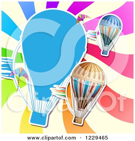 Hot Air Balloon Kite and Colorful Ray Background Posters, Art Prints