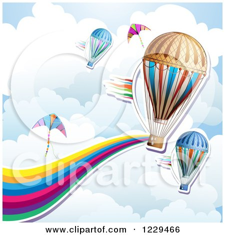 Hot Air Balloon Kite Rainbow Wave and Cloud Background Posters, Art Prints