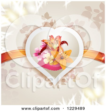 Clipart of a Floral Lily Heart with Ribbons over Branches - Royalty Free Vector Illustration by merlinul