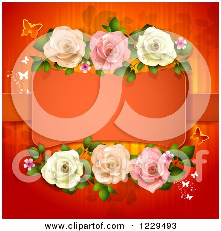 Clipart of a Frame with Roses Hearts and Butterflies on Red - Royalty Free Vector Illustration by merlinul