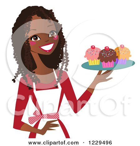 Happy Black Baker Woman Holding a Tray of Cupcakes Posters, Art Prints