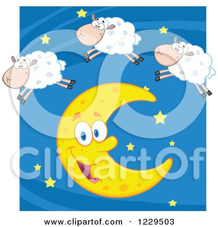 Clipart of a Happy White Sheep Leaping over a Crescent Moon - Royalty Free Vector Illustration by Hit Toon