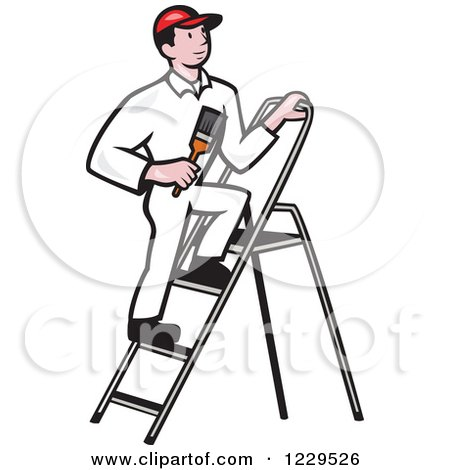 Clipart of a House Painter on a Ladder - Royalty Free Vector ...