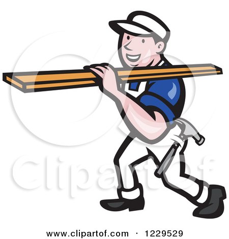 Clipart of a Construction Worker Carrying Lumber on His Shoulder - Royalty Free Vector Illustration by patrimonio