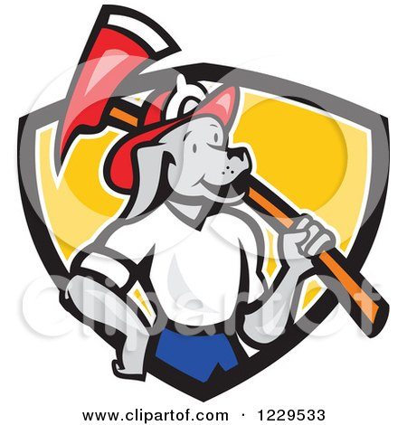 Clipart of a Dog Fireman with an Axe on His Shoulder in a Shield - Royalty Free Vector Illustration by patrimonio