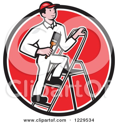 House Painter on a Ladder in a Red Circle Posters, Art Prints
