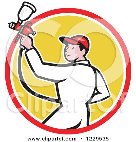 Clipart of a Spray Painting Worker Man in a Yellow Circle - Royalty Free Vector Illustration by patrimonio