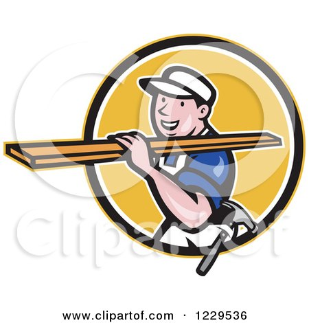 Clipart of a Construction Worker Carrying Lumber on His Shoulder in a Yellow Circle - Royalty Free Vector Illustration by patrimonio