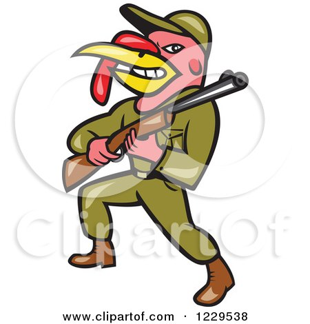 Clipart of a Military Turkey Bird Hunter with a Rifle - Royalty Free Vector Illustration by patrimonio