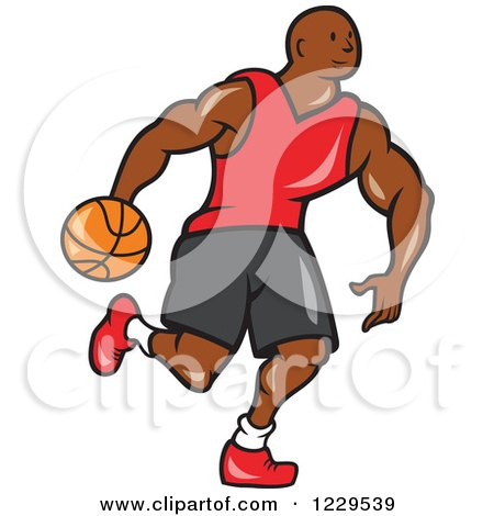 Clipart of a Black Male Basketball Player Dribbling - Royalty Free Vector Illustration by patrimonio