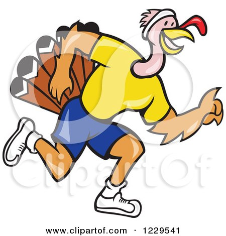 Clipart of a Running Turkey in Profile - Royalty Free Vector Illustration by patrimonio