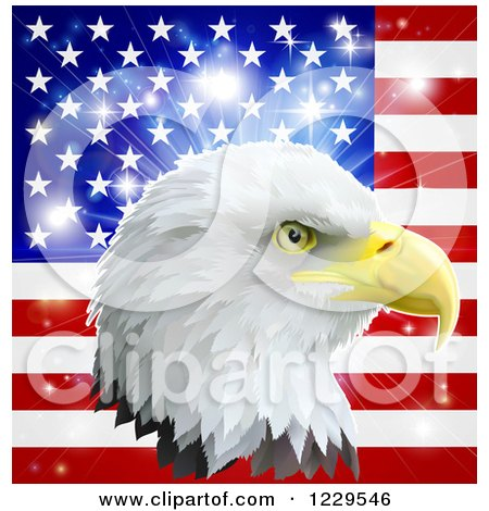 Clipart of a Bald Eagle Head over an American Flag and Burst - Royalty Free Vector Illustration by AtStockIllustration