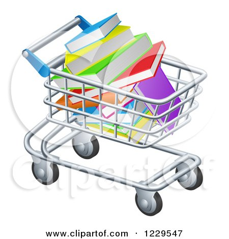 Clipart of a Shopping Cart Full of Books - Royalty Free Vector Illustration by AtStockIllustration