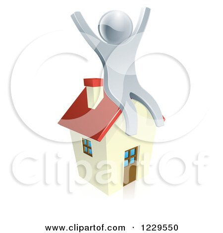 Clipart of a 3d Silver Man Sitting and Cheering on a House - Royalty Free Vector Illustration by AtStockIllustration