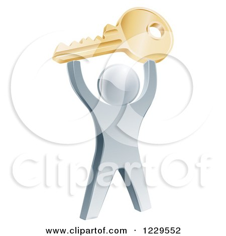 Clipart of a 3d Silver Man Holding up a Key - Royalty Free Vector Illustration by AtStockIllustration