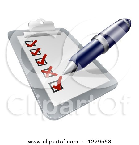 Clipart of a Pen Filling out a Survey on a Clipboard - Royalty Free Vector Illustration by AtStockIllustration