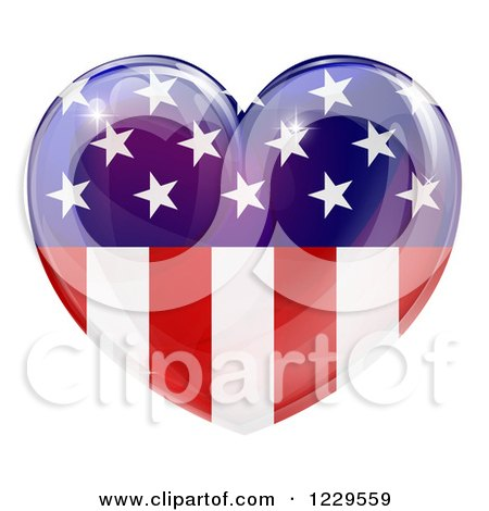 Clipart Of A Reflective American Flag Heart Royalty Free Vector Illustration