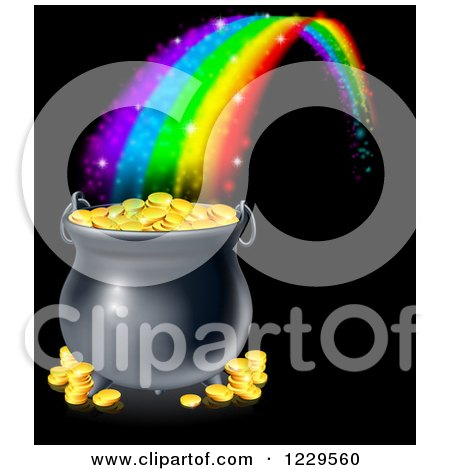 Clipart of a Magic Rainbow Ending at a Pot of Gold over Black - Royalty Free Vector Illustration by AtStockIllustration