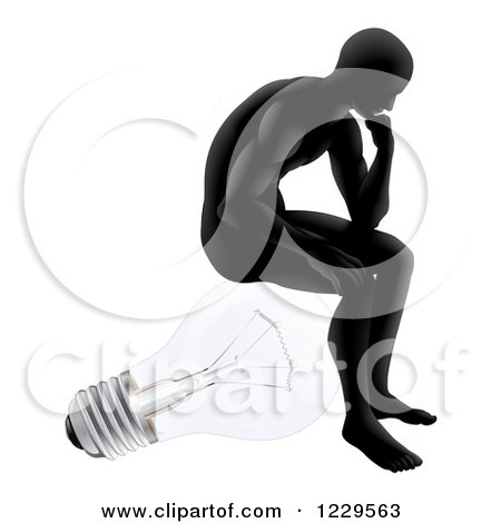 Clipart of a Silhouetted Man Sitting and Thinking on a Light Bulb - Royalty Free Vector Illustration by AtStockIllustration