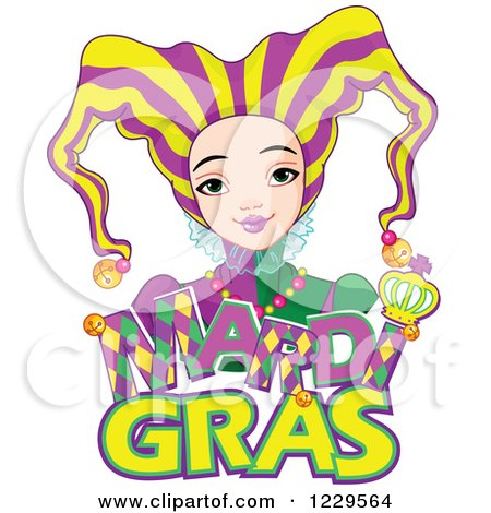 Clipart of a Mardi Gras Jester Girl over Text - Royalty Free Vector Illustration by Pushkin