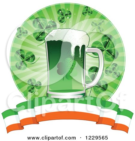 Clipart of a Green St Patricks Day Beer with Shamrocks and an Irish Banner - Royalty Free Vector Illustration by Pushkin