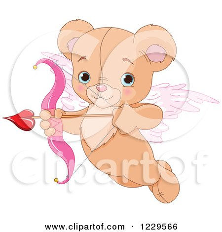 Clipart of a Cute Flying Teddy Bear Cupid Aiming an Arrow - Royalty Free Vector Illustration by Pushkin