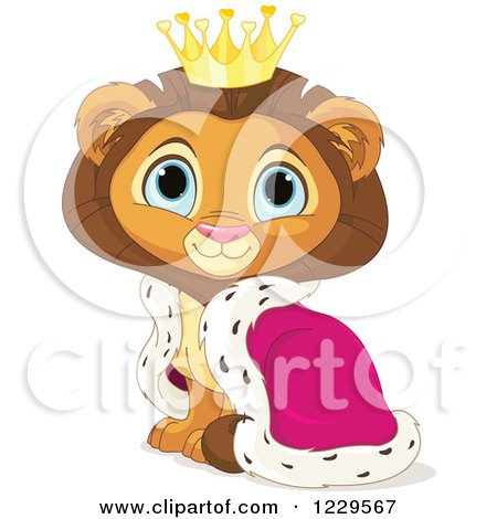Clipart of a Cute Sitting Male Lion King with a Robe and Crown - Royalty Free Vector Illustration by Pushkin