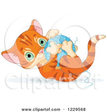 Clipart of a Cute Tabby Ginger Kitten Playing with a Ball of Yarn - Royalty Free Vector Illustration by Pushkin