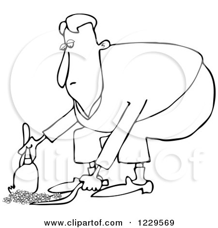 Clipart of a Black and White Lineart Man Using a Dustpan and Hand Broom - Royalty Free Vector Illustration by djart