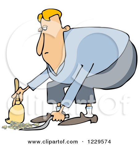 Clipart Of A Black And White Lineart Man Using A Dustpan