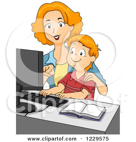 Clipart of a Mother and Son Using a Computer - Royalty Free Vector Illustration by BNP Design Studio