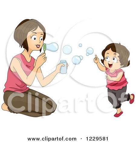 Clipart of a Mom and Daughter Blowing Bubbles - Royalty Free Vector Illustration by BNP Design Studio