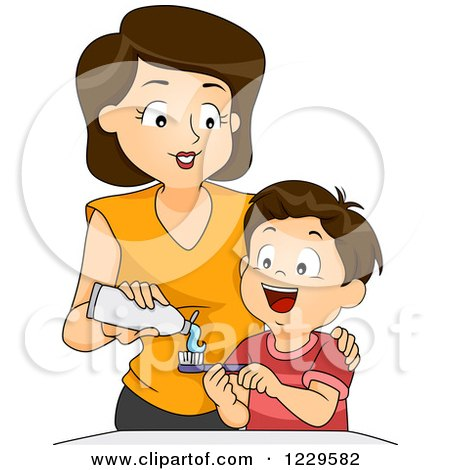 Clipart of a Mother Putting Toothpaste on Her Son's Brush - Royalty Free Vector Illustration by BNP Design Studio