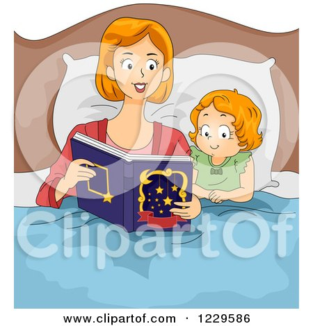 Clipart of a Mother Reading a Bedtime Story with Her Daughter - Royalty Free Vector Illustration by BNP Design Studio