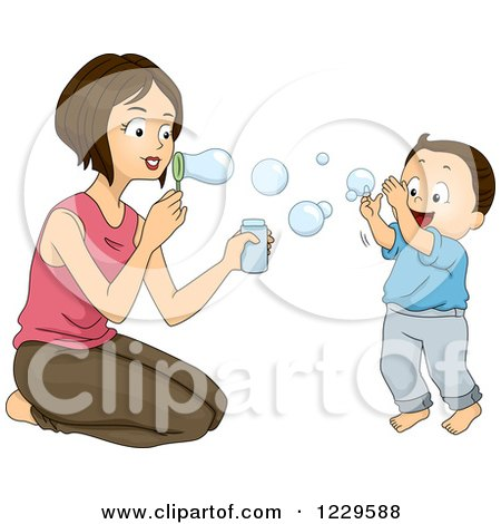 Clipart of a Mother and Son Blowing Bubbles - Royalty Free Vector Illustration by BNP Design Studio