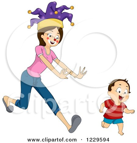 Clipart of a Mother Dressed As a Clown, Chasing Her Son - Royalty Free Vector Illustration by BNP Design Studio