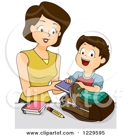 Clipart of a Mother Helping Her Son Load His Backpack - Royalty Free Vector Illustration by BNP Design Studio