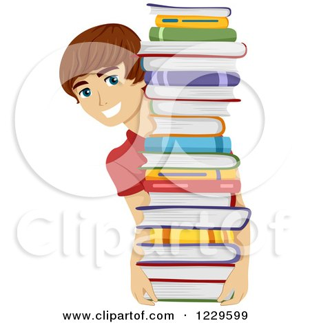 Clipart of a Teenage Boy Holding and Looking Around a Stack of Books - Royalty Free Vector Illustration by BNP Design Studio