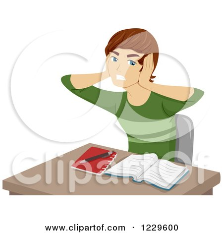 Clipart of a Frustrated Boy Covering His Ears and Trying to Study - Royalty Free Vector Illustration by BNP Design Studio