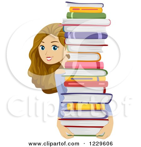 Teenage Girl Carrying and Looking Around a Stack of Books Posters, Art Prints